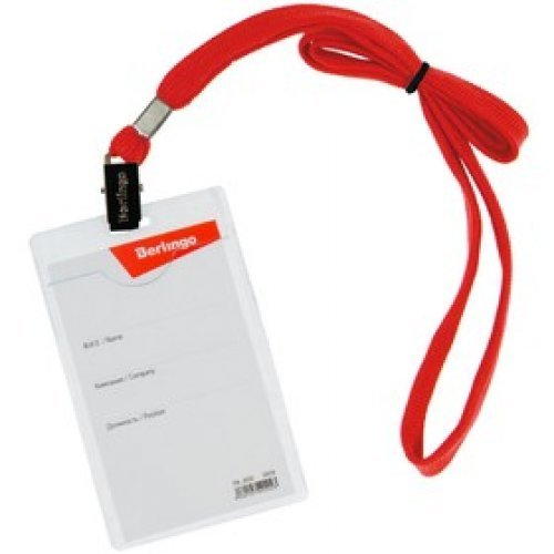 Бейдж вертикальный Berlingo, 63*100мм (размер вставки 57*84мм), с клипсой на красном шнурке PDk_00302