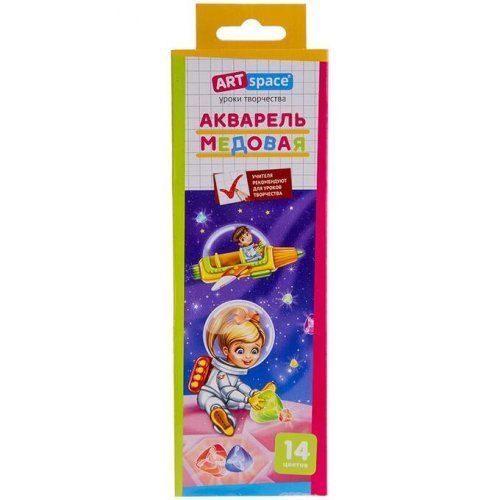 """Акварель ArtSpace """"Космонавты"""", медовая, 06 цветов, без кисти, картон, европодвес"""