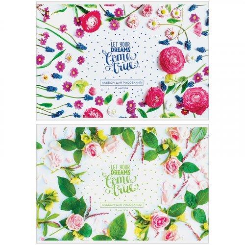 """Альбом для рисования 08л., А4, на скрепке ArtSpace """"Цветы. Твои мечты"""", обложка-офсет"""