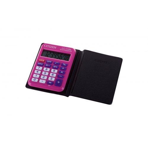 Калькулятор карманный Citizen LC-110NPK, 8 разр., питание от батарейки, 58*87*12мм, розовый