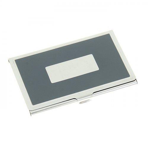 Визитница с металлическим окном, цвет серый