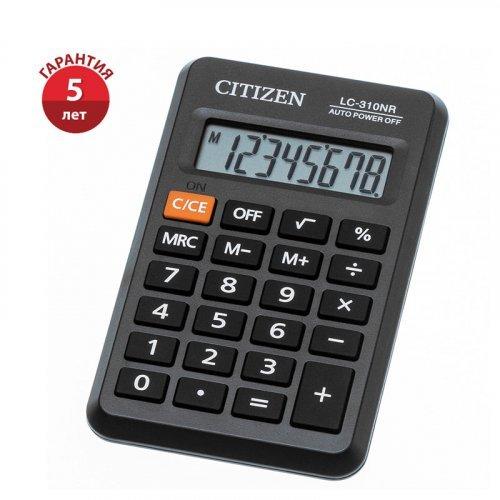 Калькулятор карманный Citizen LC-310NR, 8 разр., питание от батарейки, 69*114*14мм, черный 4562195139423