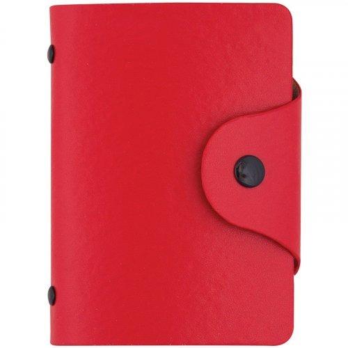Визитница карманная OfficeSpace на 40 визиток, 80*110мм, кожзам, кнопка, красный