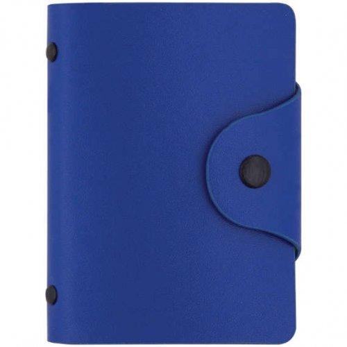 Визитница карманная OfficeSpace на 40 визиток, 80*110мм, кожзам, кнопка, сине-голубой