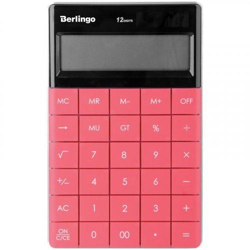 """Калькулятор настольный Berlingo """"Power TX"""", 12 разр., двойное питание, 165*105*13мм, тёмно-розовый"""