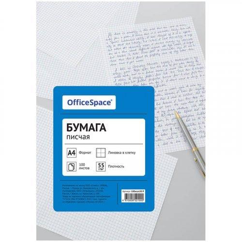 Бумага писчая OfficeSpace, А4, 100л., 55г/м2, клетка