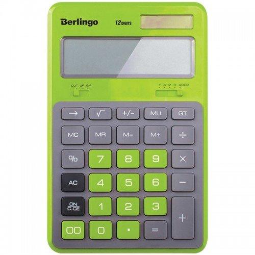 """Калькулятор настольный Berlingo """"Hyper"""", 12 разр., двойное питание, 171*108*12, зеленый"""