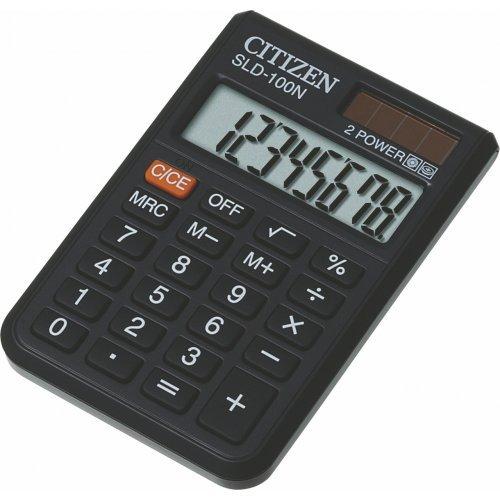 Калькулятор карманный Citizen SLD-100N, 8 разр., двойное питание, 58*87*12мм, черный